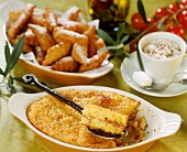 Polenta bake and bugnes (doughnut speciality from Lyon)