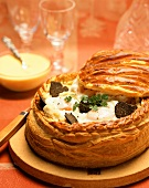 Vol-au-vent (puff pastry case with egg and truffles)