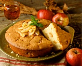 Apple sponge cake made in pie dish