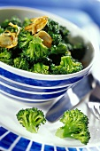 Broccoli florets with fried onions