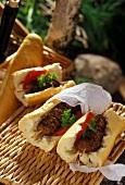 Barbecued mince kebabs in baguette