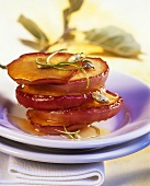 Fried apples rings with honey and cardamom