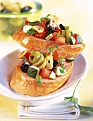 Crostini variopinti (with olives, tomatoes & courgettes)