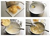 Preparing cheese polenta