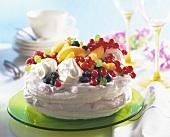 Meringues with raspberry cream and fresh fruit