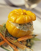 Steamed baby pumpkin stuffed with smoked fish tartare