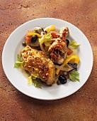 Chicken 'alla diavolo' with caponata (aubergine stew)