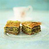 Baklava (filo pastry with honey and pistachios, Greece)