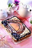 Polish Easter cake decorated with chocolate (Mazurek)