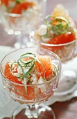 Shrimp cocktail with grapefruit segments
