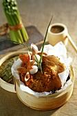 Lychee-Kuchen, im Bambusdämpfer zubereitet