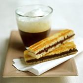 Cinnamon and chocolate slice and espresso macchiato