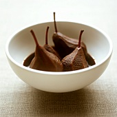 Chocolate pears in a bowl