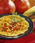 Bhoplachye dosse (pumpkin pancakes with vegetables, India)
