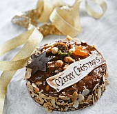 Christmas cake with dried fruit and hazelnuts
