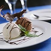 White and brown chocolate ice cream with dark chocolate