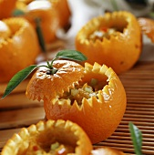 Pumpkin puree in hollowed-out oranges (Sichuan, China)