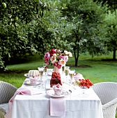 Table with berry desserts in open air