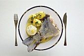 Carp cooked blue with creamed horseradish & boiled potatoes