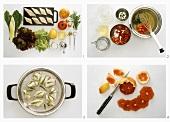 Blattsalat mit gedünstetem Fisch und Grapefruit zubereiten
