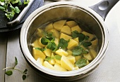 Cooking potatoes with marjoram