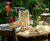 Still life with white and green asparagus