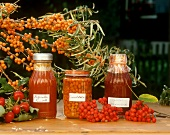 Preserved rose hips, sea buckthorn and rowan berry jam