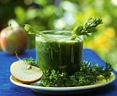 Freshly pressed parsley and apple juice