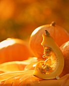 Wedge of pumpkin and whole pumpkins