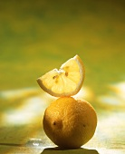 Slice of lemon on lemon