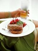 Grilled ribeye steak with beetroot salad