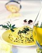 Spaghetti with olive paste