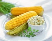 Corncob with herb butter