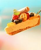 A piece of frozen vanilla and honey tart