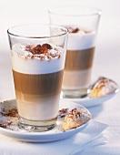 Two glasses of latte macchiato