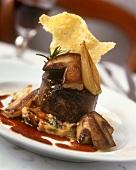 Beef fillet with cep on polenta