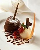 Dark chocolate blancmange & white chocolate ice cream