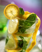 Water with slices of lemon, ice cubes and mint leaves