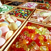 Assorted sweets in boxes