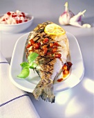Grilled gilthead bream with tomato and basil salsa