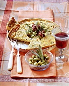 French cheese tart with onions