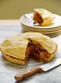Rabbit pie with polenta crust