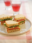 Corned beef, cheese and  salad sandwiches