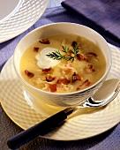 Potato and sauerkraut soup with bacon