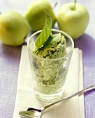 Apple and basil ice cream in glass