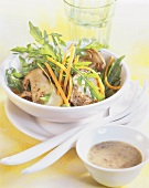 Rocket salad with fried ceps and mustard dressing