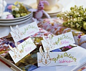 Home-made place-cards for Easter