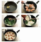 Preparing pork medallions in cream sauce