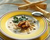Hamburg parsley soup with mushrooms