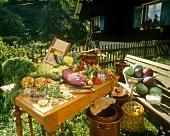 Still life: vegetables, spices & pickling utensils in garden